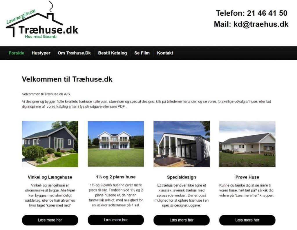 Træhuse A/S hjemmeside